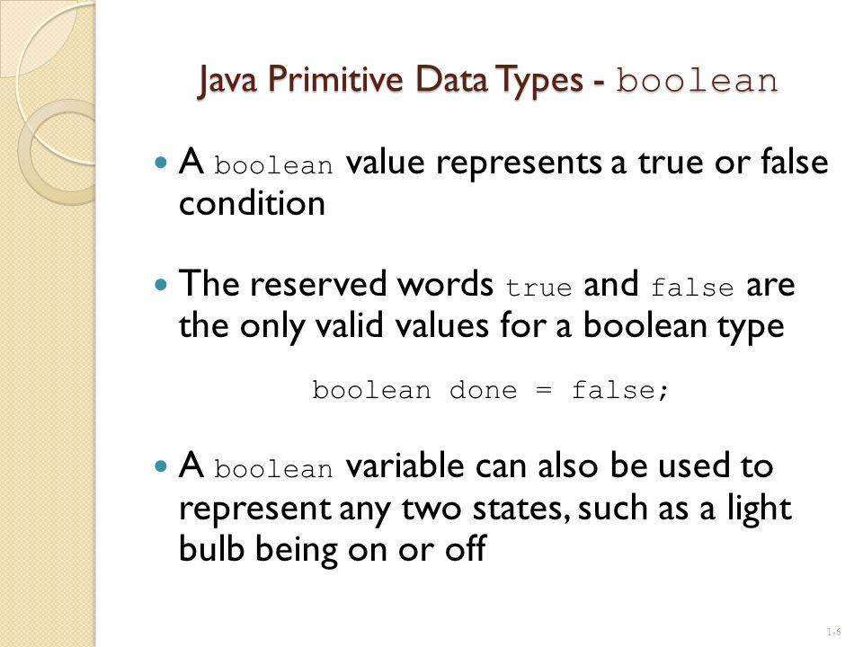 Java Primitive Data Types - boolean