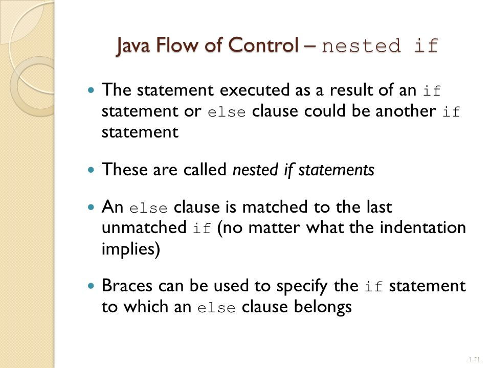 Java Flow of Control – nested if