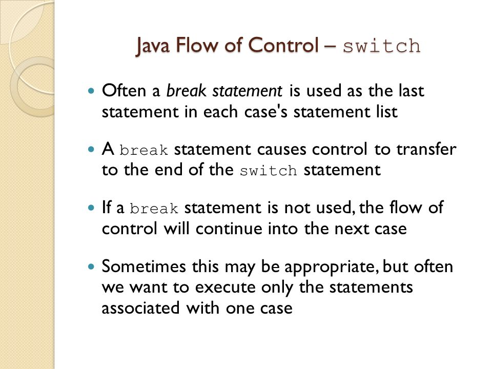 Java Flow of Control – switch