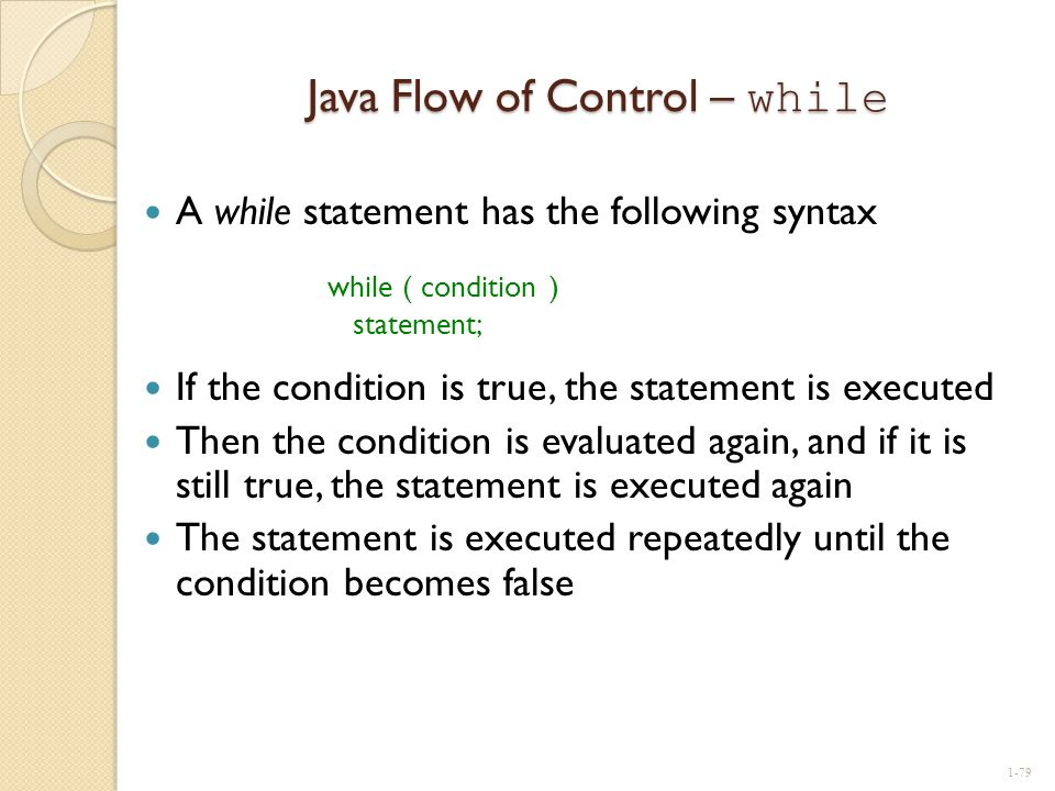 Java Flow of Control – while