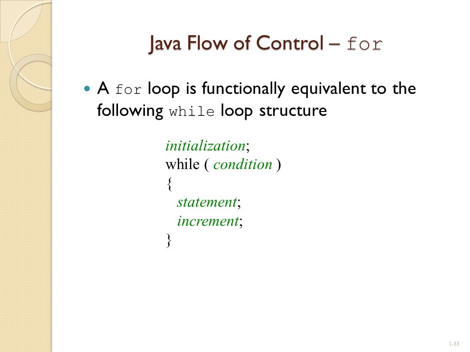 Java Flow of Control – for
