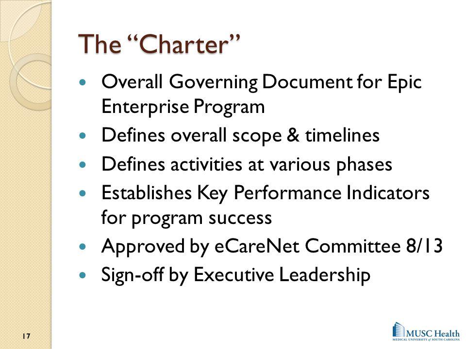 The Charter Overall Governing Document for Epic Enterprise Program