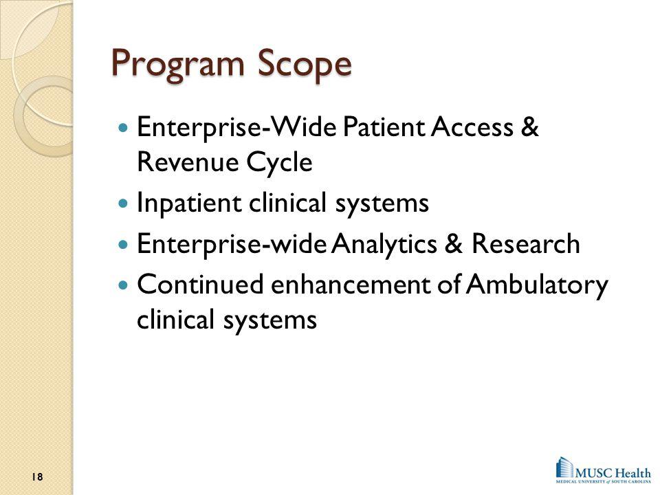 Program Scope Enterprise-Wide Patient Access & Revenue Cycle