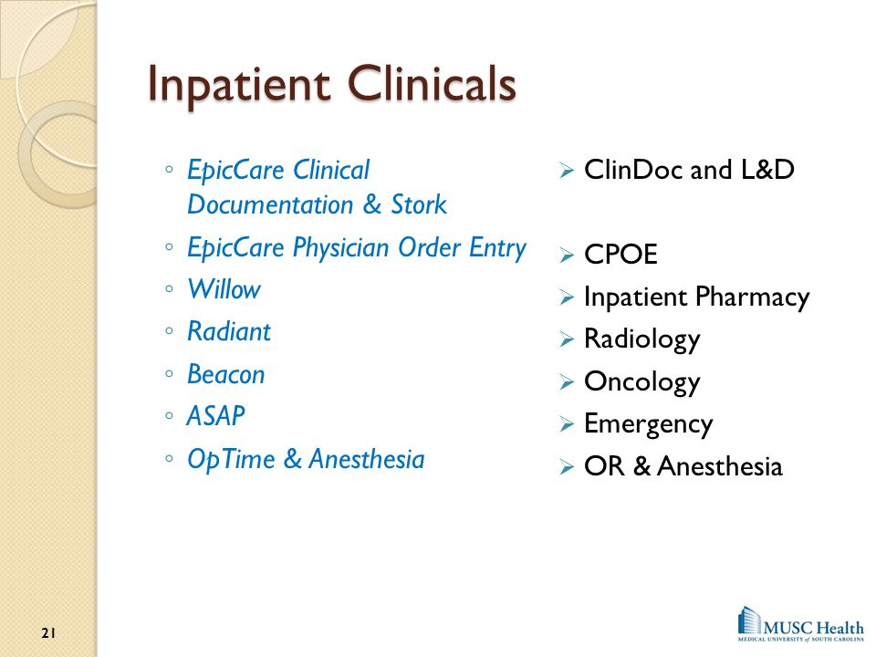 Inpatient Clinicals EpicCare Clinical Documentation & Stork