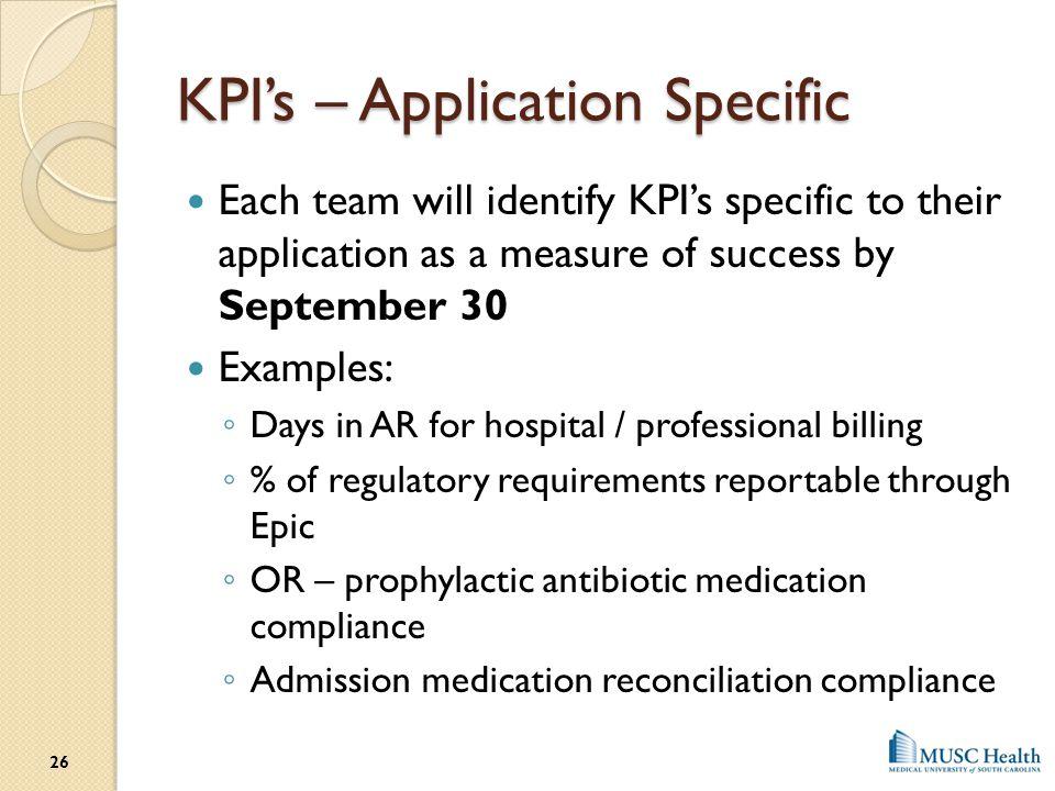 KPI's – Application Specific