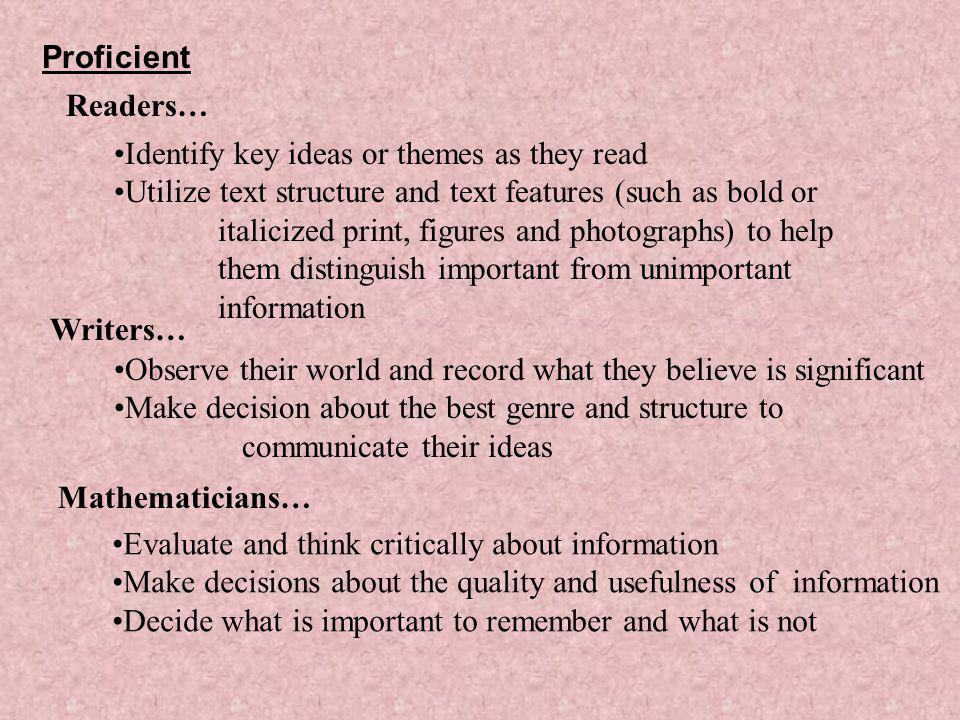 Proficient Readers… Identify key ideas or themes as they read.