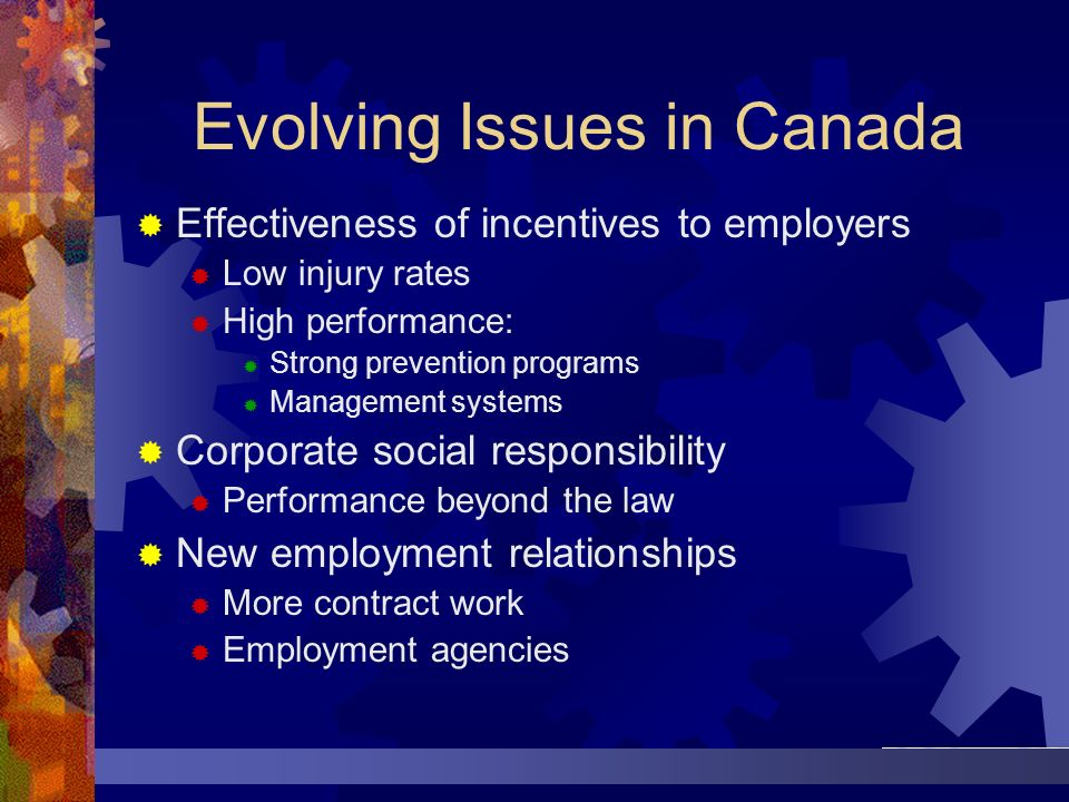 Evolving Issues in Canada