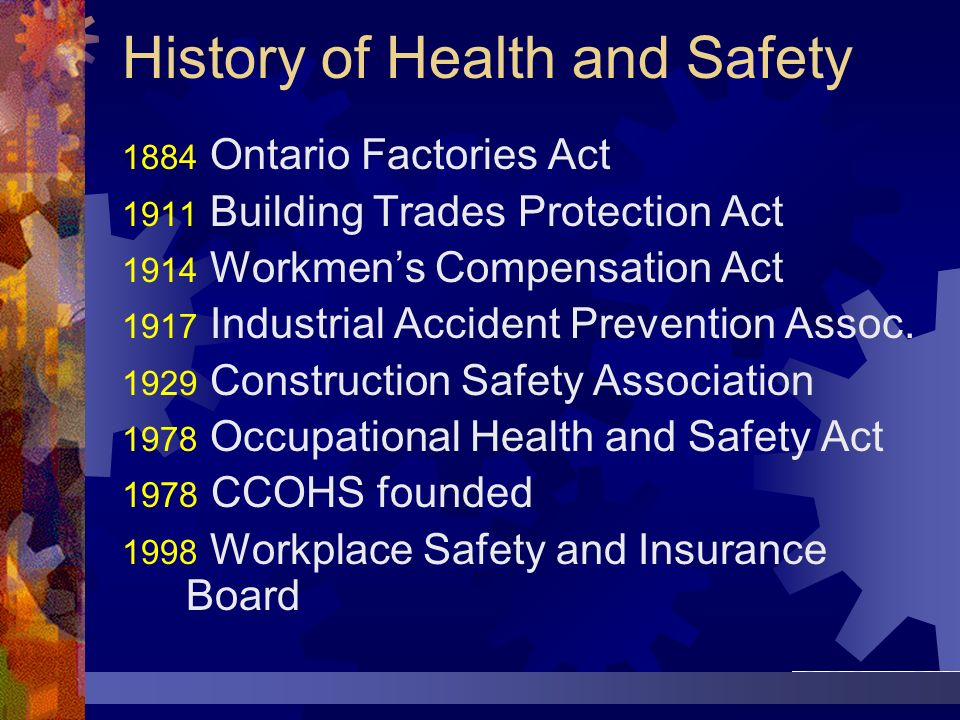 History of Health and Safety