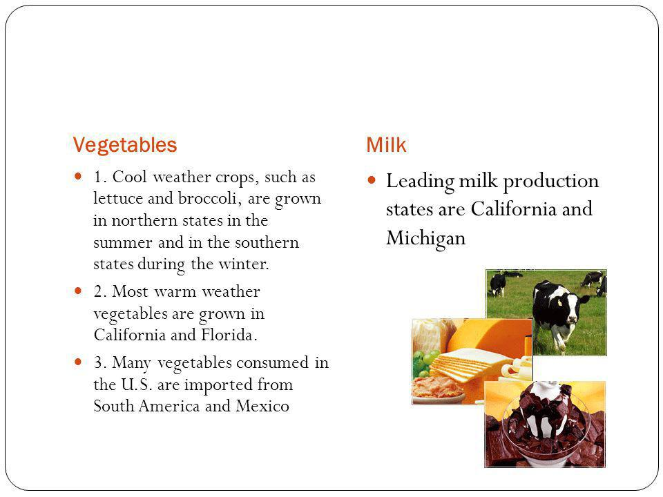 Leading milk production states are California and Michigan