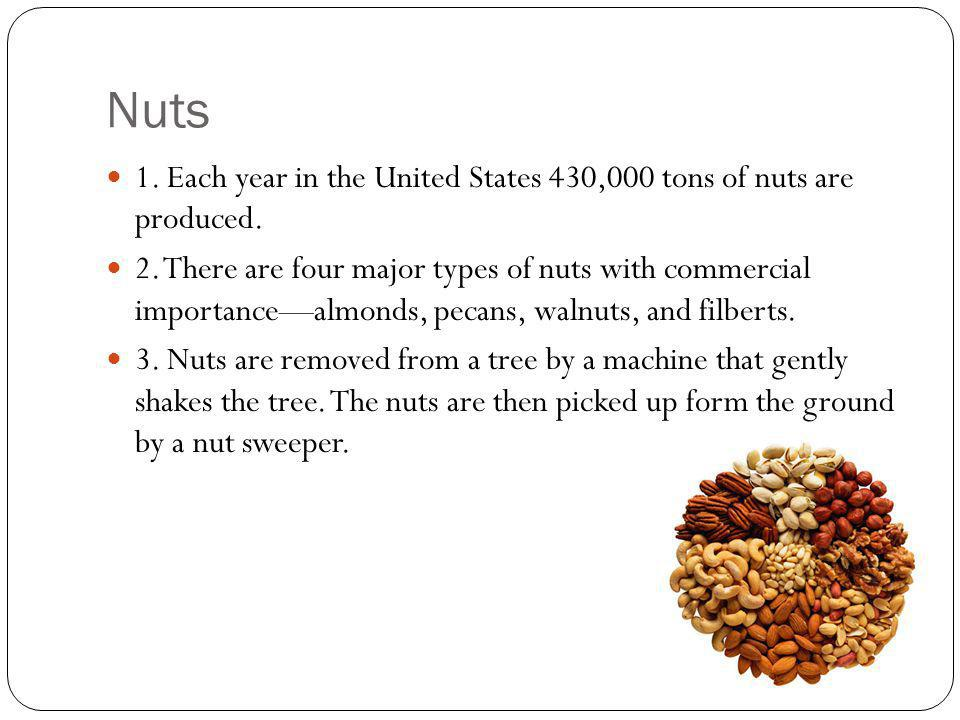 Nuts 1. Each year in the United States 430,000 tons of nuts are produced.