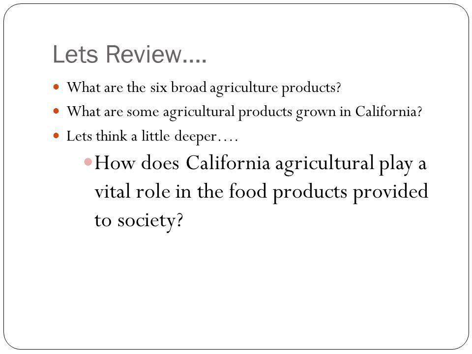 Lets Review…. What are the six broad agriculture products What are some agricultural products grown in California