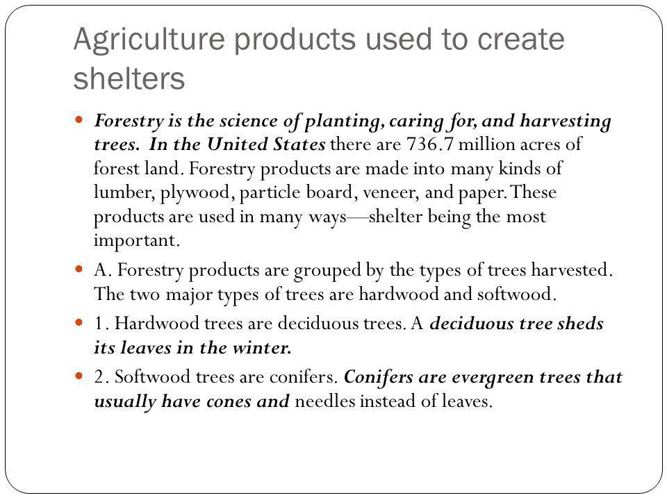 Agriculture products used to create shelters