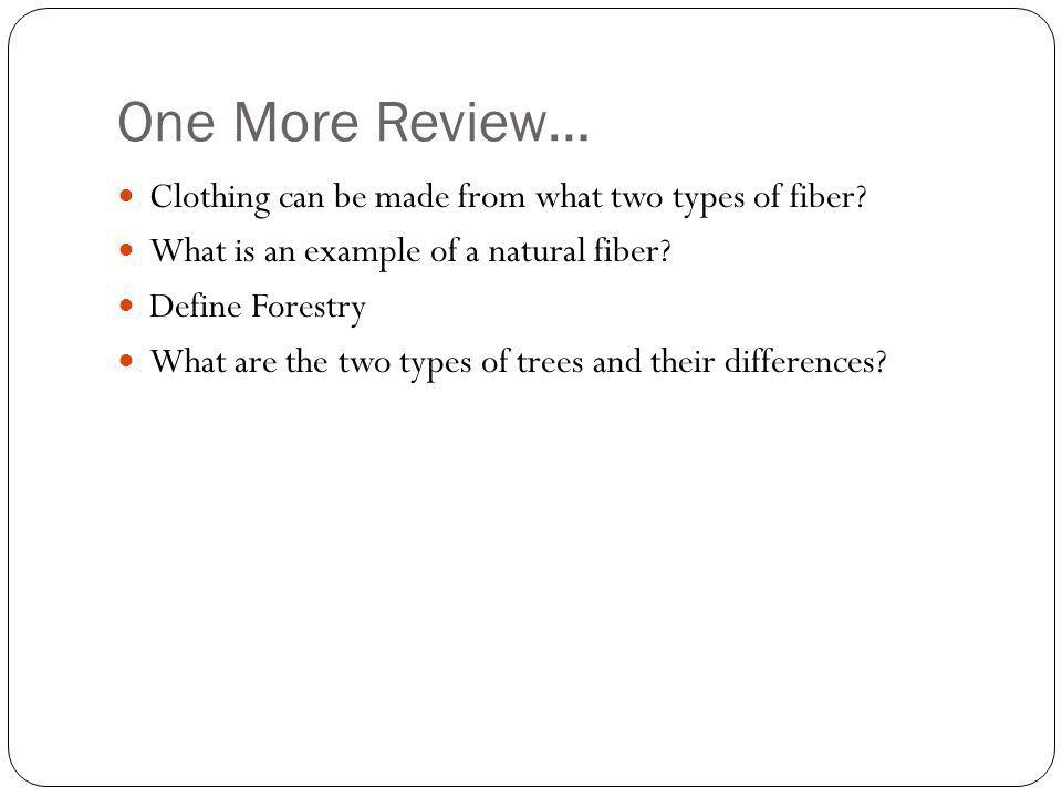 One More Review… Clothing can be made from what two types of fiber
