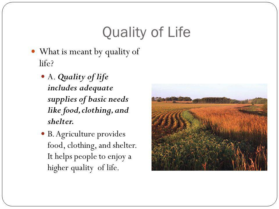 Quality of Life What is meant by quality of life