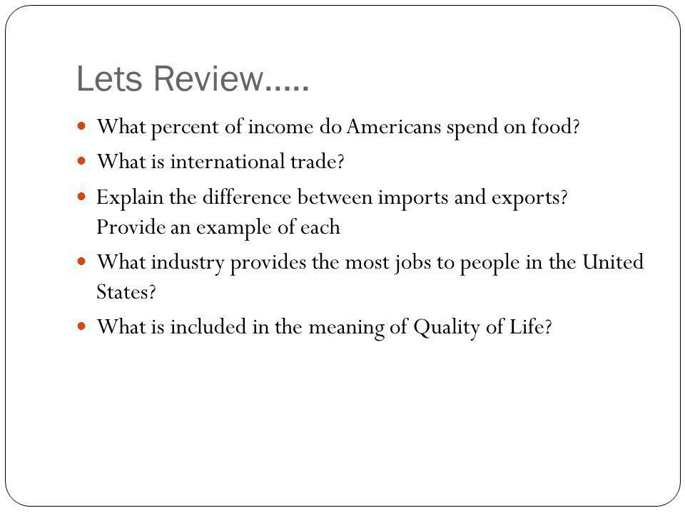 Lets Review….. What percent of income do Americans spend on food
