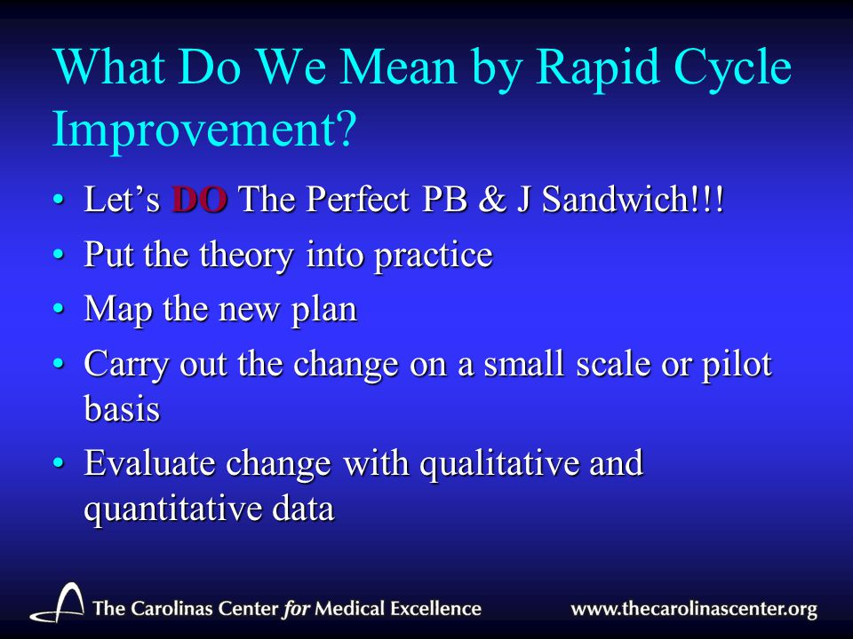 What Do We Mean by Rapid Cycle Improvement