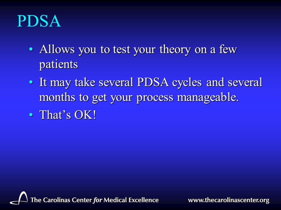 PDSA Allows you to test your theory on a few patients