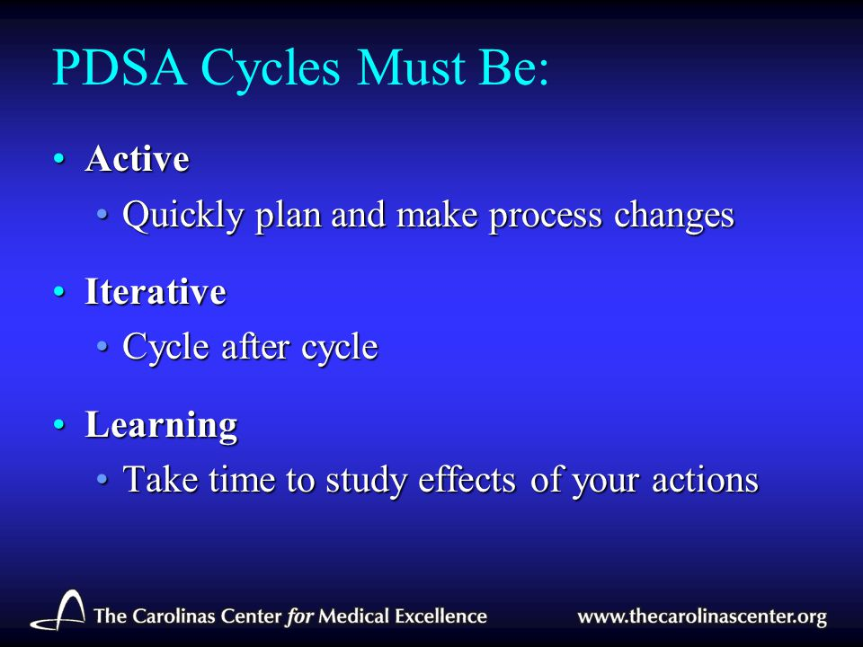 PDSA Cycles Must Be: Active Quickly plan and make process changes