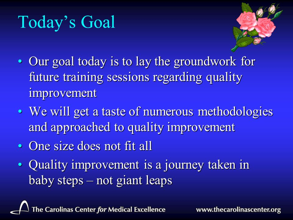 Today's Goal Our goal today is to lay the groundwork for future training sessions regarding quality improvement.