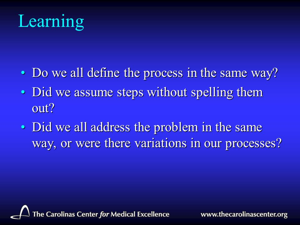 Learning Do we all define the process in the same way