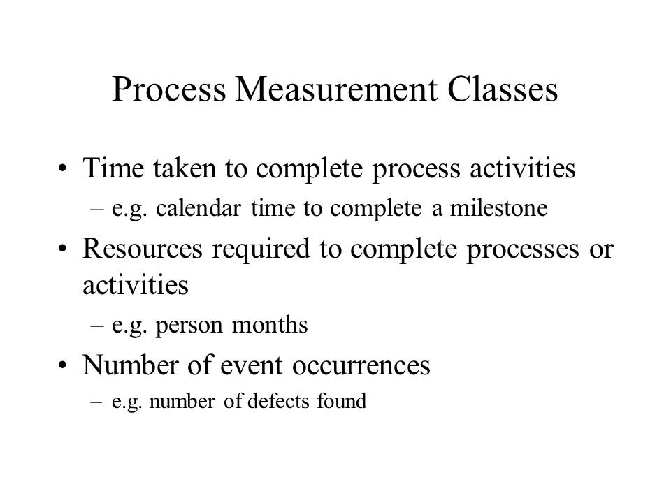 Process Measurement Classes