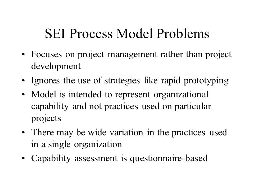 SEI Process Model Problems