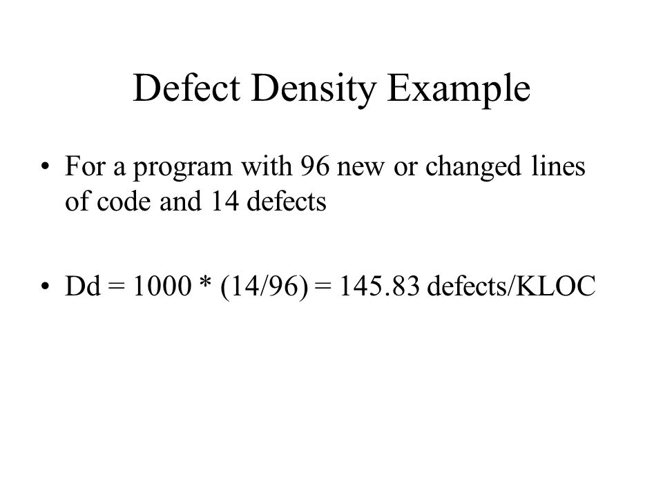 Defect Density Example