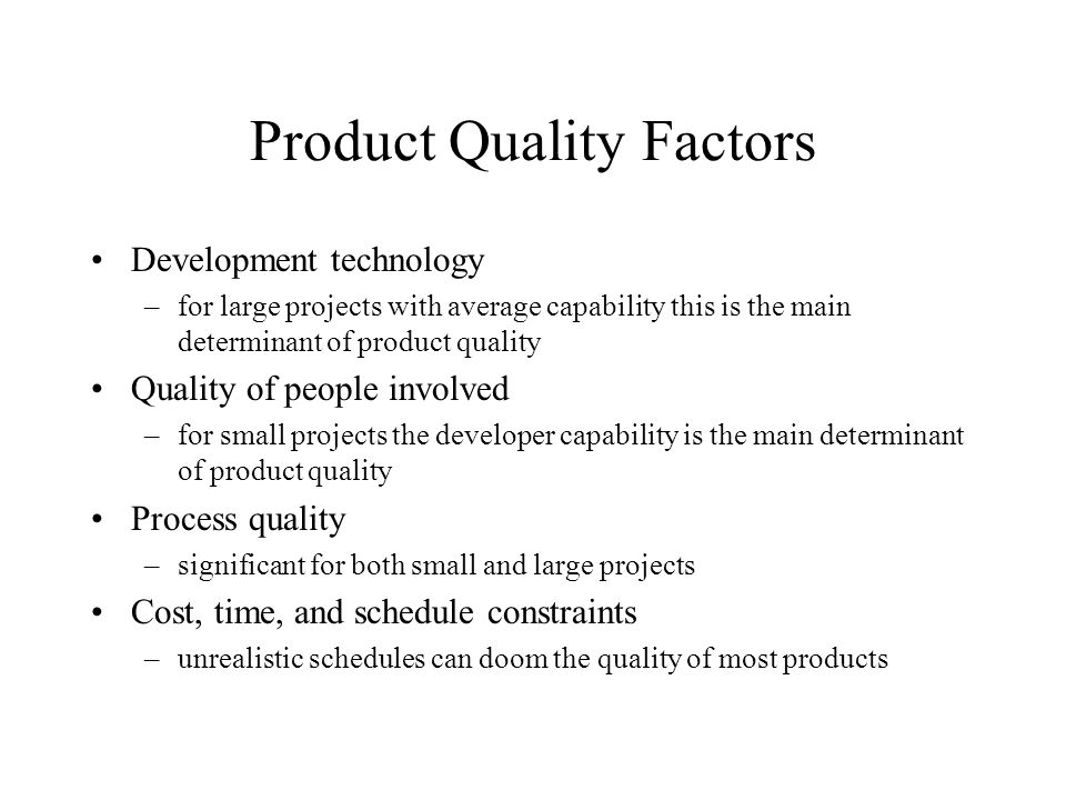 Product Quality Factors