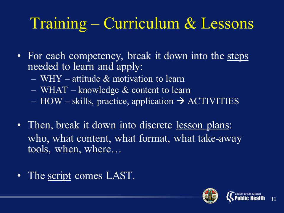 Training – Curriculum & Lessons