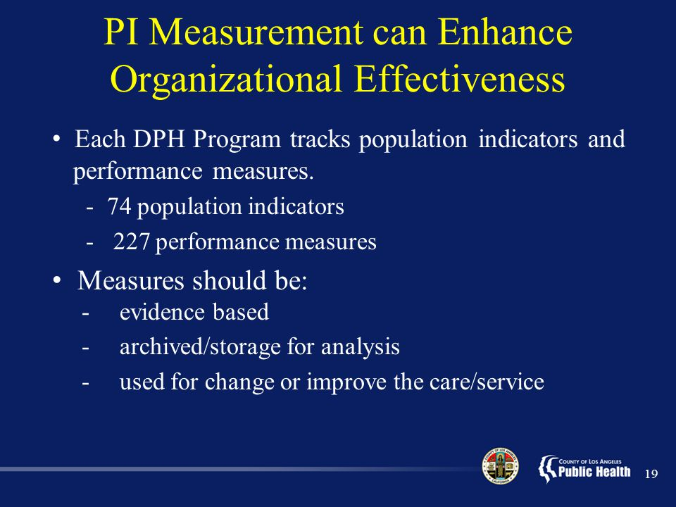 PI Measurement can Enhance Organizational Effectiveness