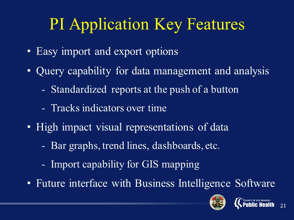 PI Application Key Features
