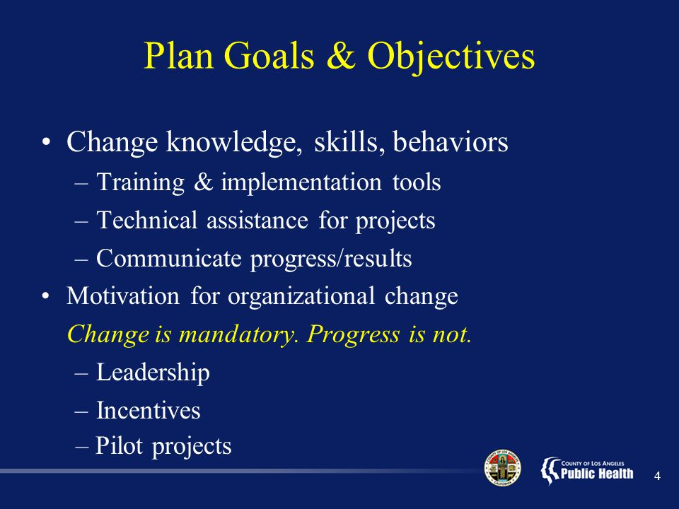 Plan Goals & Objectives