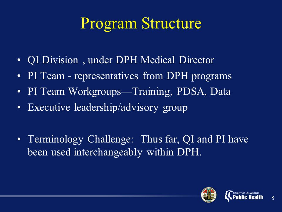 Program Structure QI Division , under DPH Medical Director