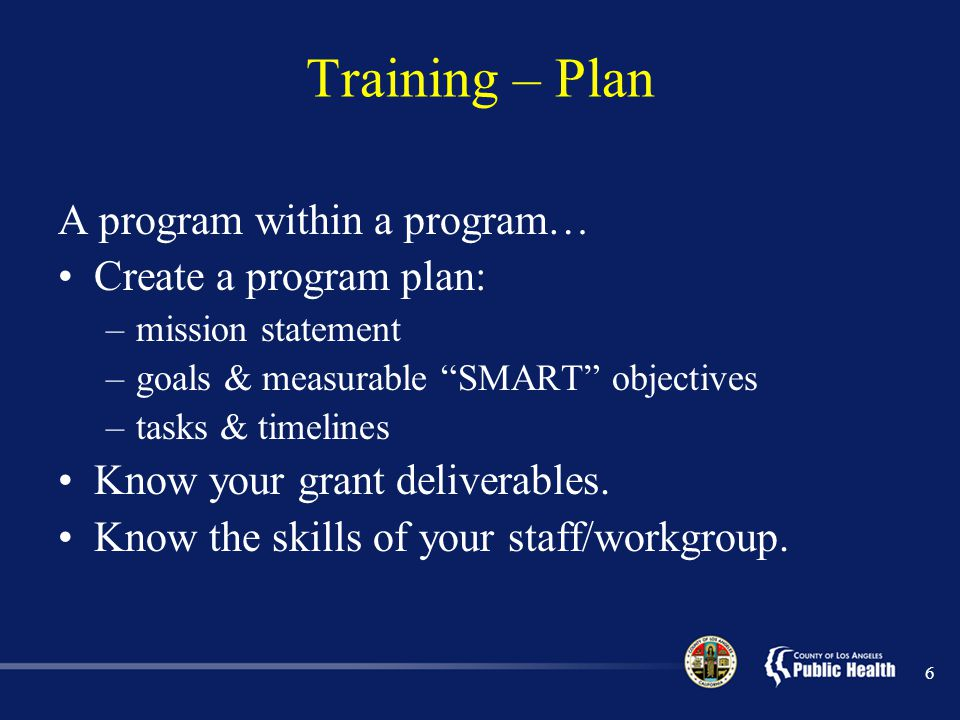 Training – Plan A program within a program… Create a program plan: