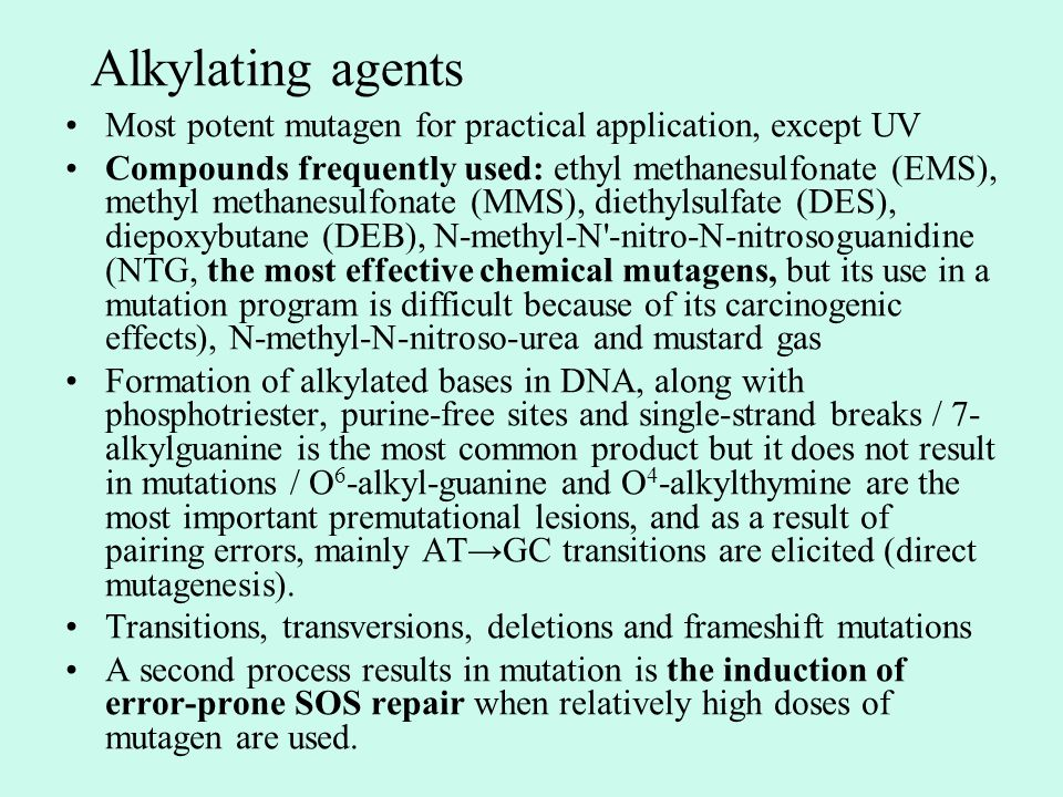 Alkylating agents Most potent mutagen for practical application, except UV.