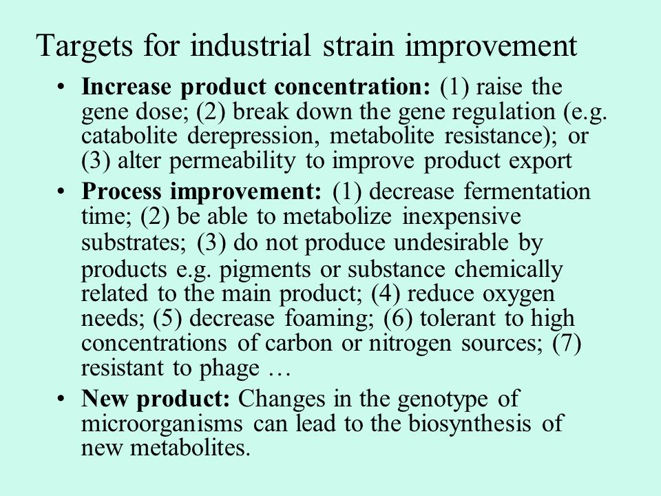 Targets for industrial strain improvement