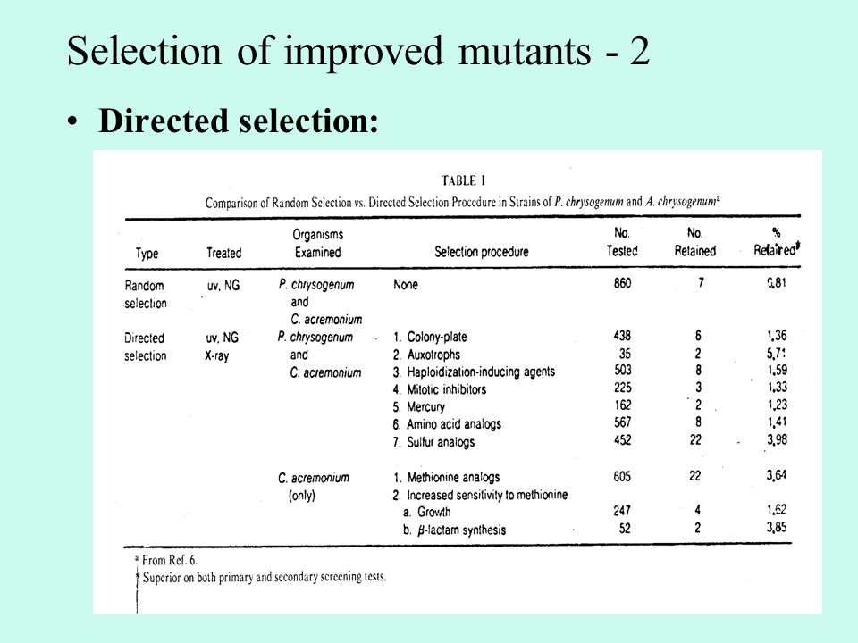 Selection of improved mutants - 2