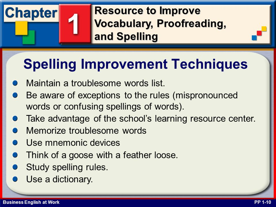 Spelling Improvement Techniques