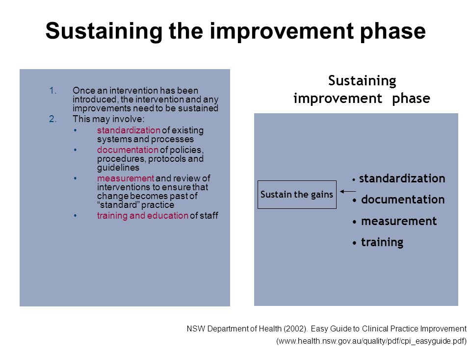 Sustaining the improvement phase