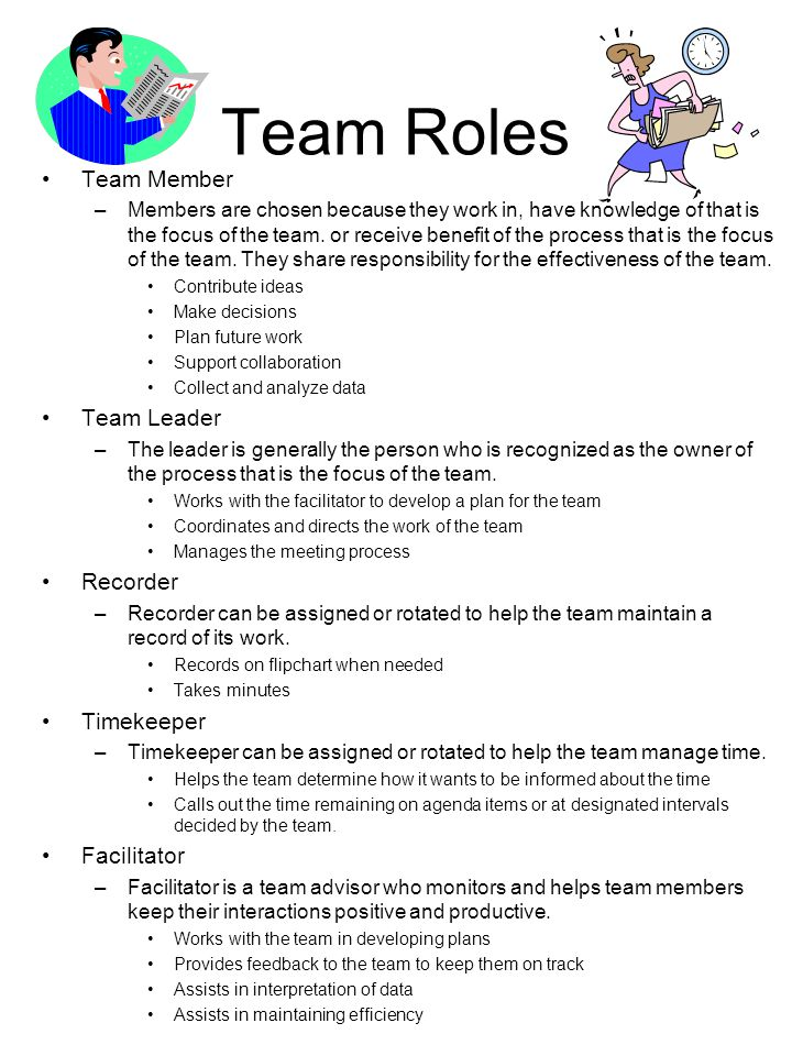 roles of team members Roles of team members core members of cdr teams are responsible for responding to child deaths or for protecting children's health or safety a cdr team should always have representatives from the following agencies or professions:.