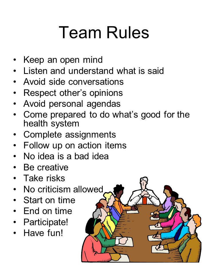 Team Rules Keep an open mind Listen and understand what is said