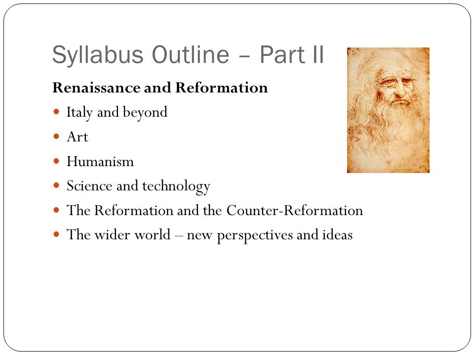 Syllabus Outline – Part II