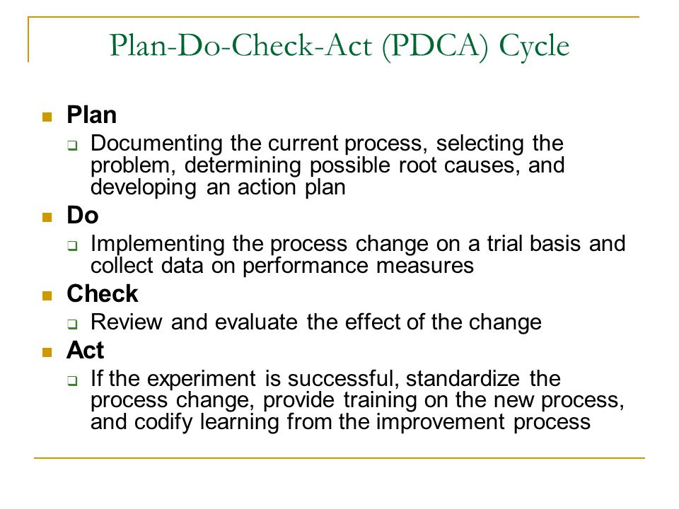 Plan-Do-Check-Act (PDCA) Cycle