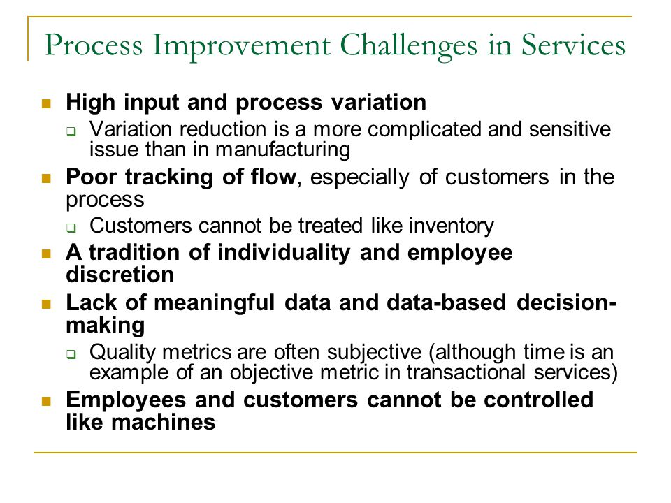 Process Improvement Challenges in Services