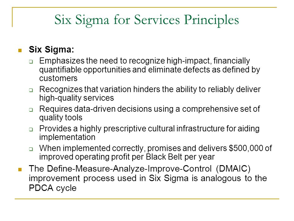 Six Sigma for Services Principles