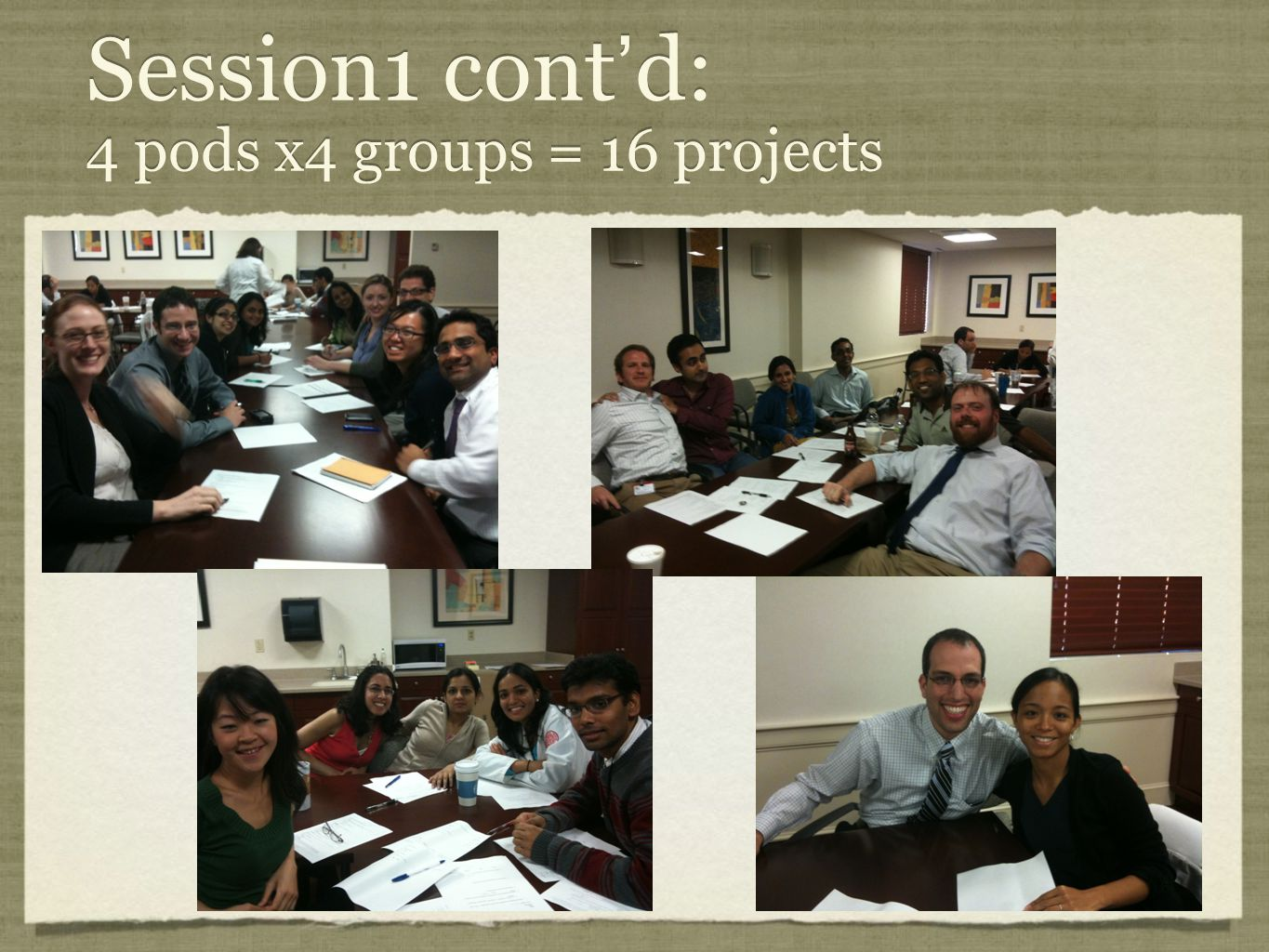 Session1 cont'd: 4 pods x4 groups = 16 projects