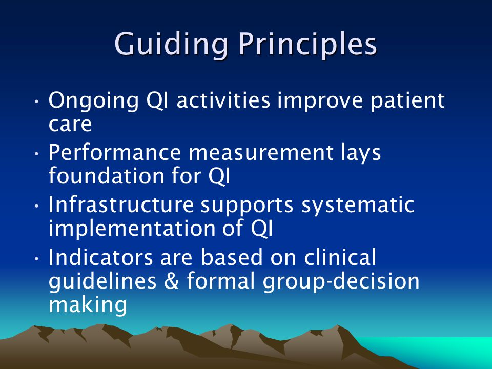 Guiding Principles Ongoing QI activities improve patient care