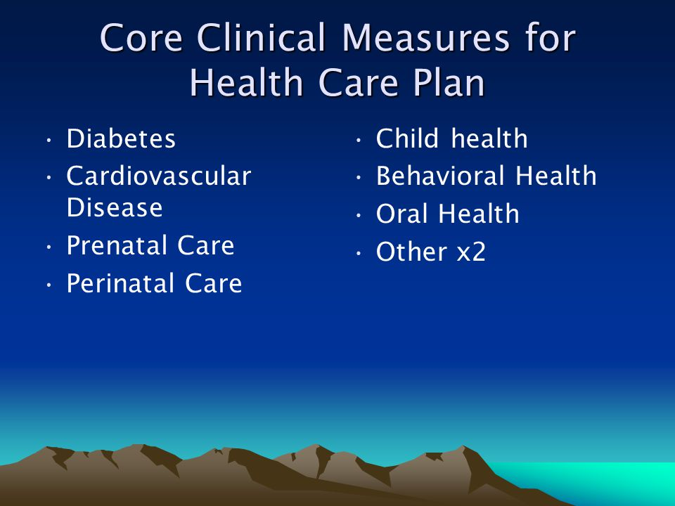 Core Clinical Measures for Health Care Plan