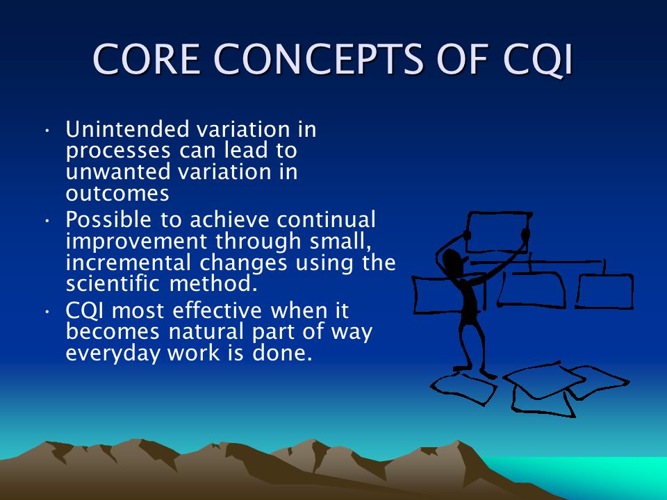 CORE CONCEPTS OF CQI Unintended variation in processes can lead to unwanted variation in outcomes.
