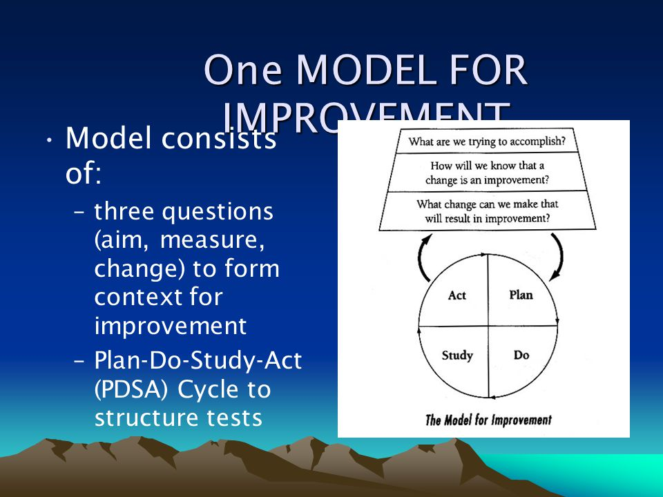 One MODEL FOR IMPROVEMENT